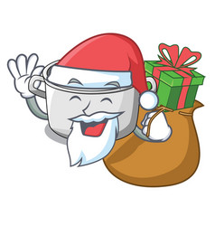 Santa with gift cartoon homemade stew soup in the vector