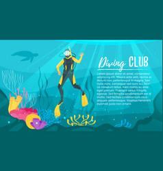 scuba diver explores the sea vector image