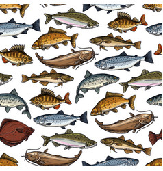 sea fish ocean seafood marine animals pattern vector image