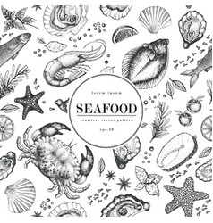 Seafood seamless pattern for restaurants vector