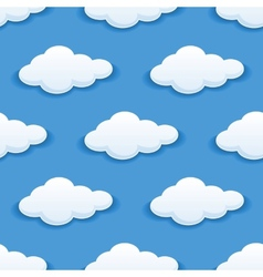 Seamless background with fluffy clouds vector