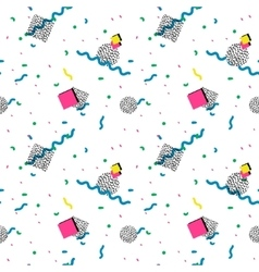 seamless pattern in memphis style vector image