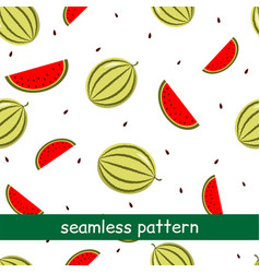 seamless pattern of watermelon on a white vector image