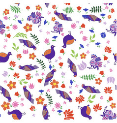 seamless pattern tribal birds with flowers vector image