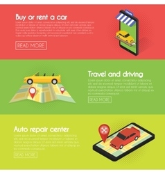 Set Car banners Buy online auto rental service vector image