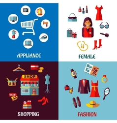 Set of flat colorful woman and appliance shopping vector