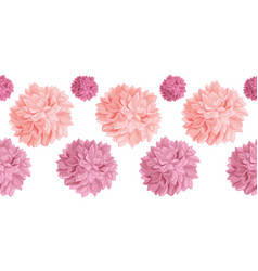 Set pink birthday party paper pom poms vector
