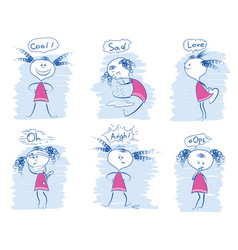 Set young girl emotions doodle hand draw vector