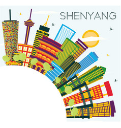 shenyang china city skyline with color buildings vector image