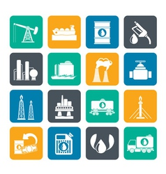 Silhouette Petrol and oil industry icons vector image