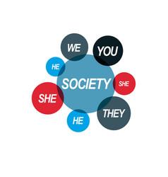 social relations conceptual logo unique symbol vector image