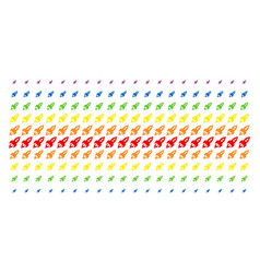 space rocket launch shape halftone spectrum grid vector image