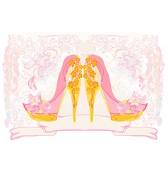 Stylized floral shoes Stiletto High heel decorated vector