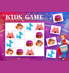 Sudoku maze kids game with circus clowns and items vector