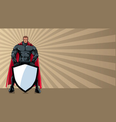 superhero holding shield ray light background vector image