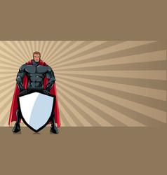 Superhero holding shield ray light background vector