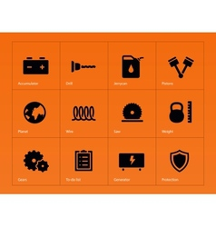 Tools icons on orange background vector
