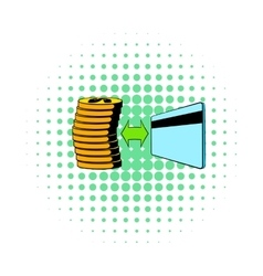 Transfer of cash to card icon comics style vector image