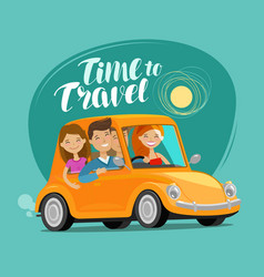 Travel concept happy friends ride retro car on vector