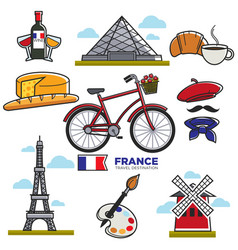 travelling to france touristic map vector image