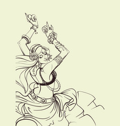 tribal fusion bellydance dancer contour graphic vector image