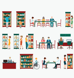 Various character people in bookstore or vector