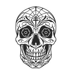 vintage mexican sugar skull monochrome template vector image