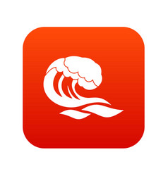 Wave icon digital red vector