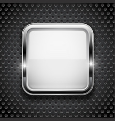 White button on metal perforated background vector