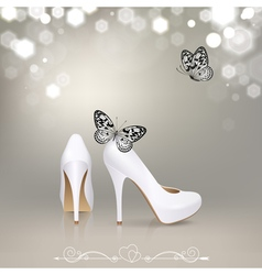 White High Heeled Shoes with Butterflies vector