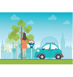 Woman holding a coin for car park vector