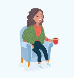 woman in armchair vector image
