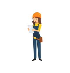 Woman in hardhat of constructor vector
