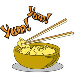 Wonton soup vector