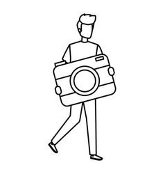 Young man lifting camera photographic character vector