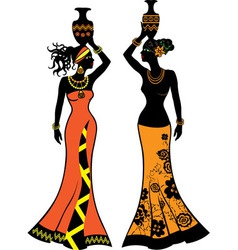 Beautiful African woman with vases vector image vector image