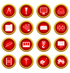 construction icon red circle set vector image