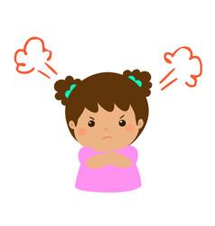 cute cartoon angry girl character vector image vector image