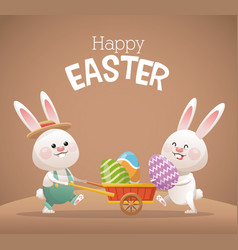 happy easter card two bunny egg vector image vector image