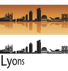 Lyons skyline in orange background vector image vector image