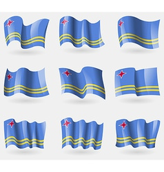 Set of Aruba flags in the air vector image vector image