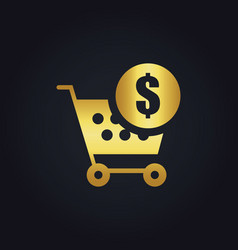 shopping cart money buy gold logo vector image