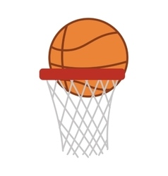 silhouette colorful with basketball hoop and ball vector image vector image