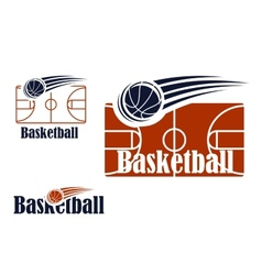 Basketball symbol with field and ball vector image