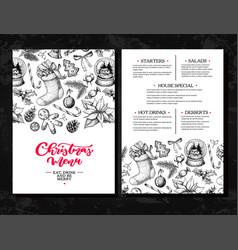 Christmas menu chalkboard restaurant and cafe vector