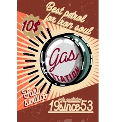 Color vintage gas station poster vector image vector image
