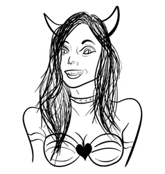 Demon girl sketch vector image vector image