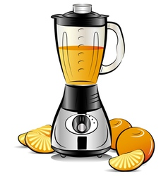 drawing color kitchen blender with orange juice vector image vector image