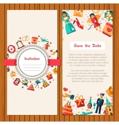 Flat design wedding and marriage invitation card vector image