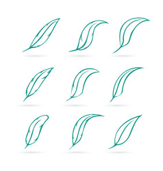 Group of feather on white background icon vector